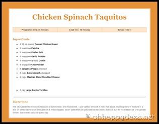 Chicken Spinach Taquitos
